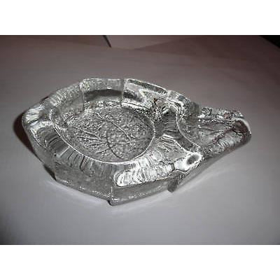 clear glass ashtray in shape of tobacco leaf preowned