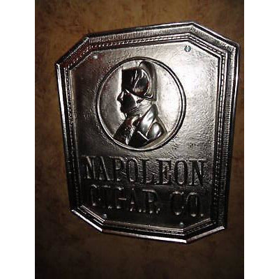 Napoleon Cigar Co. Bronze Sign Nickel Plated