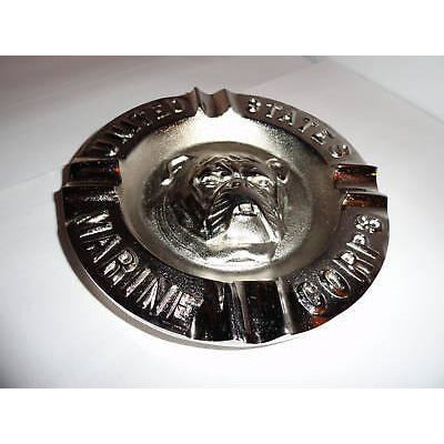 USMC Bulldog Ashtray & Baseball Cap Combo