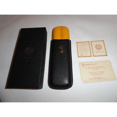 Beryllus  Black & Gold Leather Cigar Case holds 2 small size corona cigars