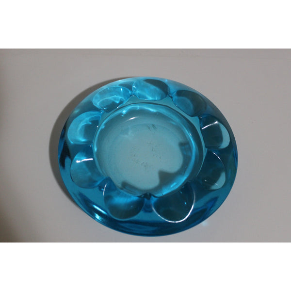 Blue Glass  Circular Ashtray
