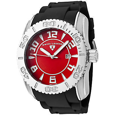 Swiss Legend Men's Commander Stainless Red Dial Watch