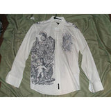 BG mens casual designer dress shirt with graphic medium Preowned Good Condition