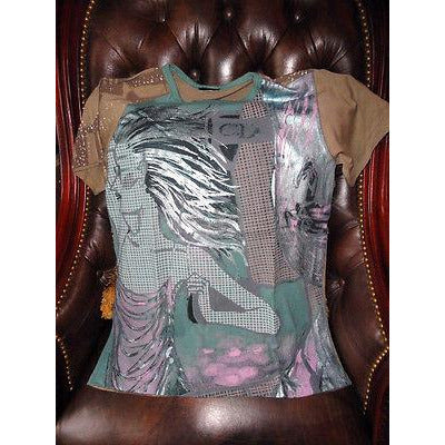 Designer Multicolored Large T-Shirt with embellishments preowned Good Condition