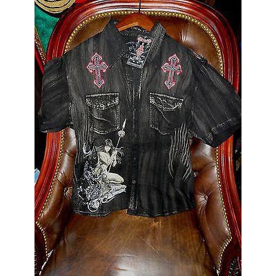 Retrofit mens casual black shirt adult with tags Large size