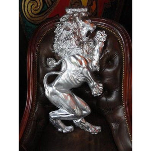 "Rampant Lion Metal Wall Plaque measures 32"" H x 15"" W"