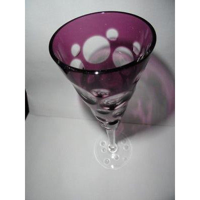 Faberge Flutes in Amethyst Bubble Glass NEW