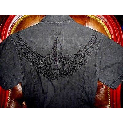 Roar mens casual black embroidered shirt  Medium size