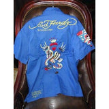 Ed Hardy by Christian Anligier Handmade Embroidered Large Shirt in Blue
