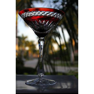 Faberge Odessa Ruby Red  Martini Glass new without box