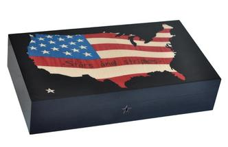 "Elie Bleu Stars & Stripes ""  Humidor 110 Count NIB Made in France"