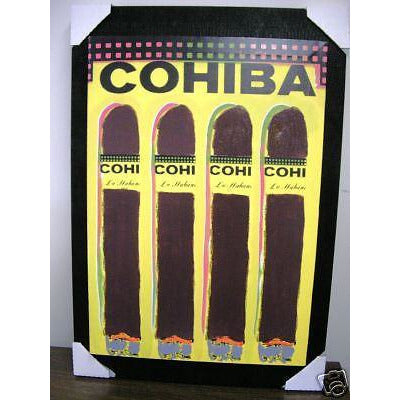 Cohiba Print on Canvass & Mounted on Black Suede