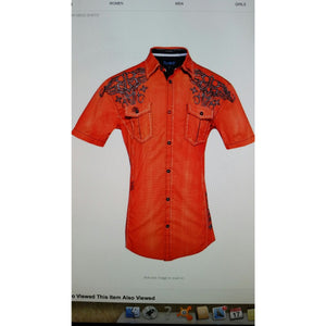 Roar Tribal Short Sleeve Orange Shirt Preowned Good Condition