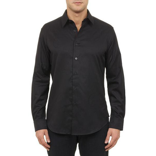 Robert Graham Medium-sized Pyramid Black Slim fit Sport Shirt New