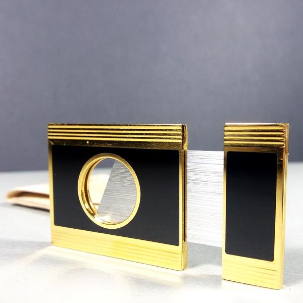 S.T. Dupont Paris Gold Plated & Black Lacquer Cigar Cutter w/Pouch