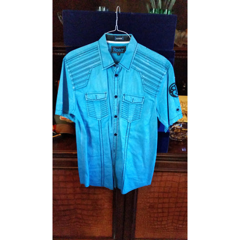 Roar Light Blue Short Sleeve Medium-sized Shirt