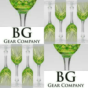 Faberge Odessa Lime Green Goblets set of 6 no box