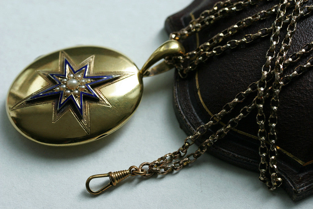 Victorian Pearl and Blue Enamel Locket