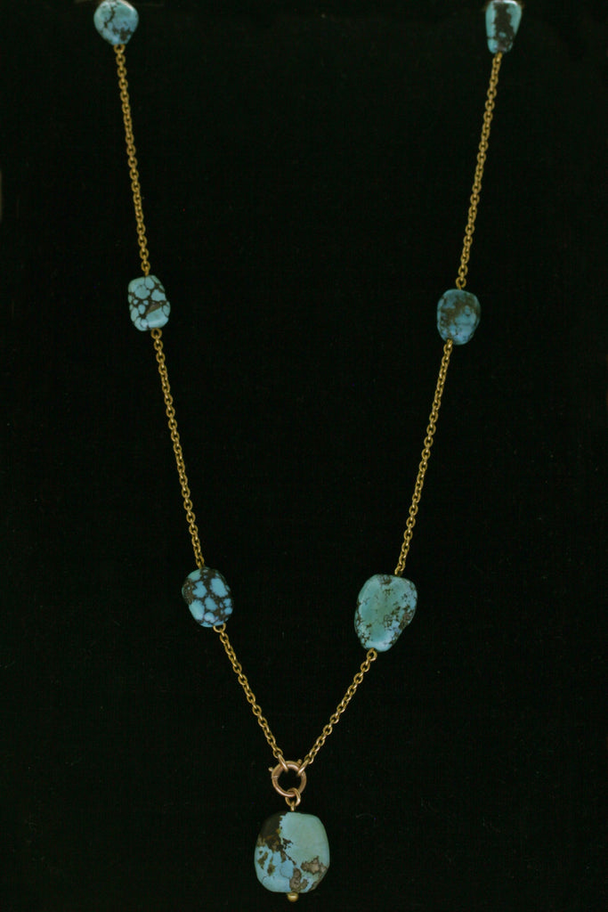 Edwardian Turquoise Nugget 18K Necklace