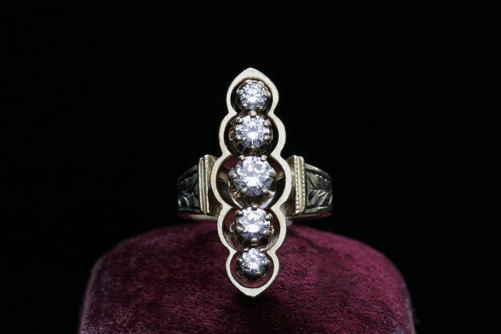 Diamond and Enamel Navette Ring
