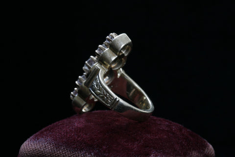 Diamond and Enameled Navette Ring
