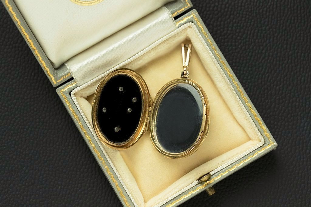 Antique French Onyx Diamond 'AC' Locket