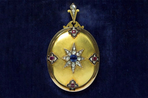 Victorian Sapphire Diamond Ruby Gold Locket