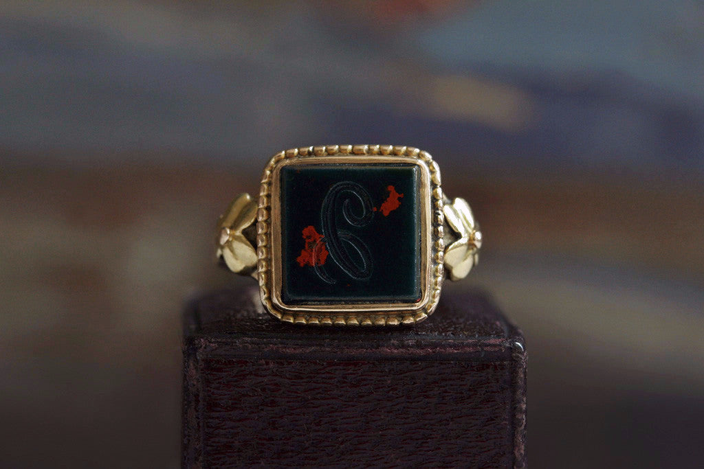 Victorian Bloodstone 'C' Signet Ring