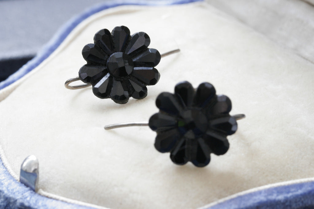 Victorian Black Vauxhall Glass Earrings