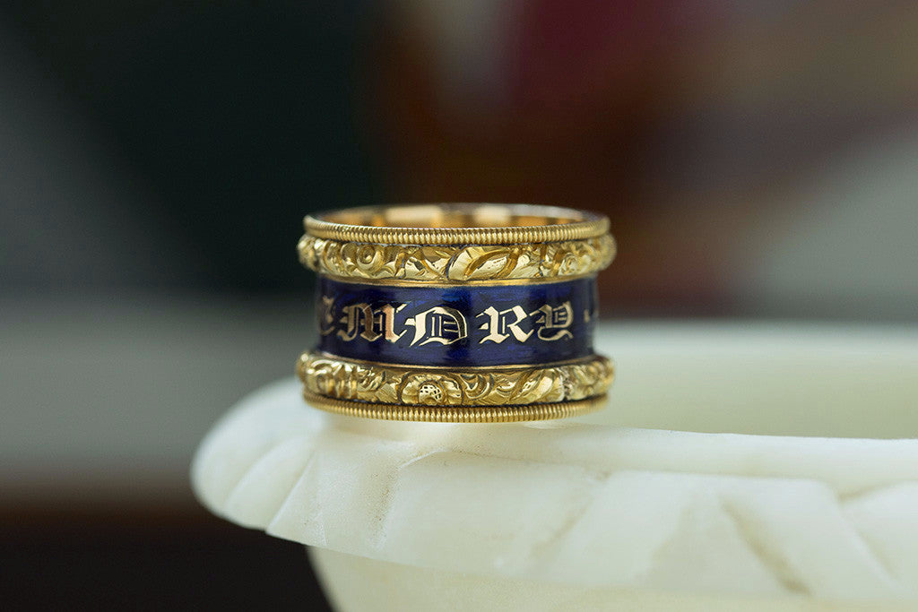 Wide Georgian Blue Enamel Memorial Ring