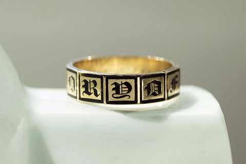 'In Memory Of' Black Enamel and Gold Band
