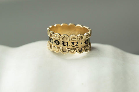 Georgian Black Enamel Mourning Ring