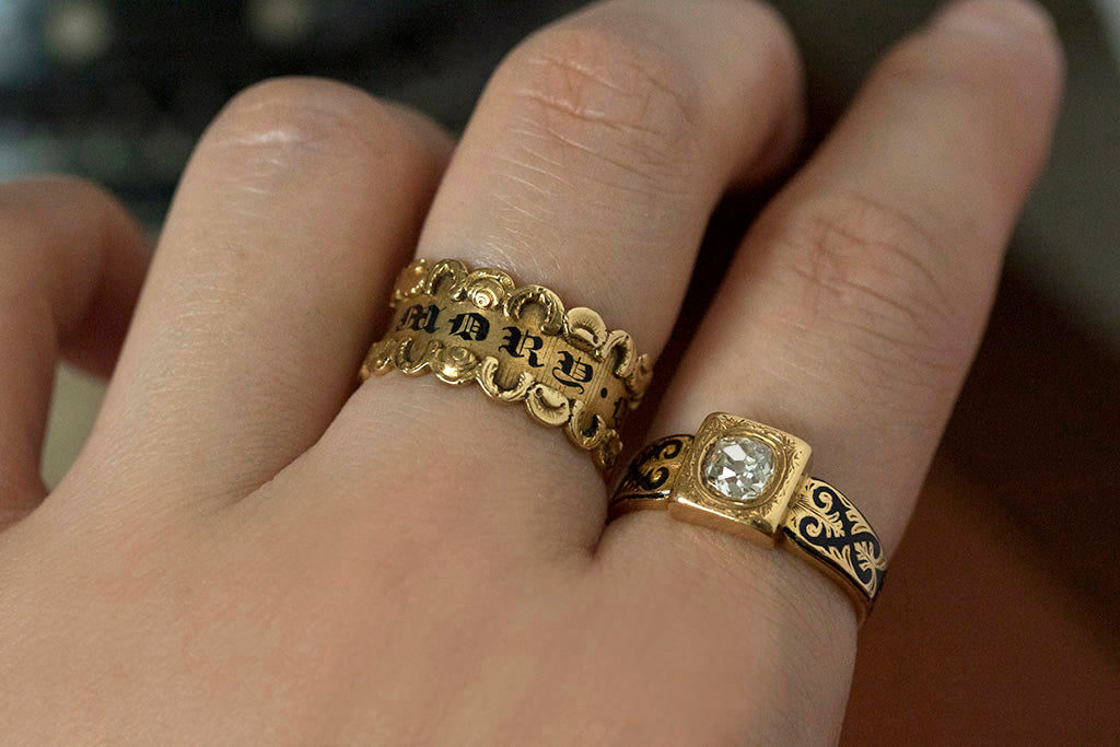 Antique Black Enamel Mourning Rings