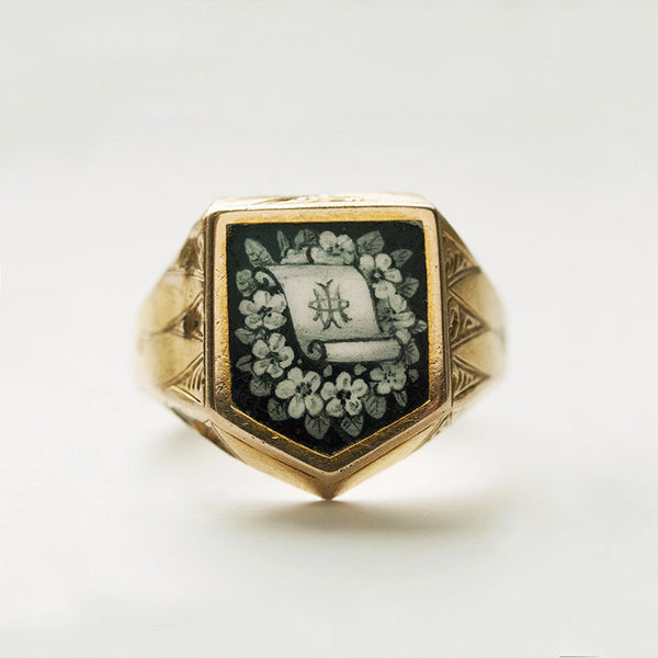 Victorian Black and White Enamel Shield Mourning Ring