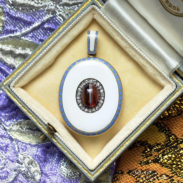 Victorian Cats Eye & Diamond Locket