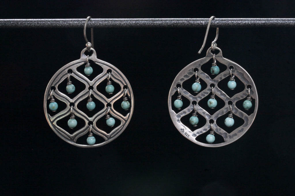Dangling Turquoise Sterling Disc Earrings