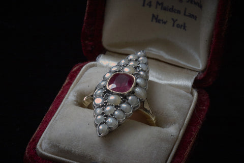 Victorian Ruby and Seed Pearl Navette Ring