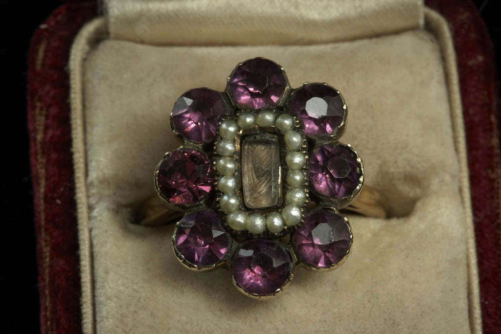 Victorian Amethyst Paste and Seed Pearl Locket Ring