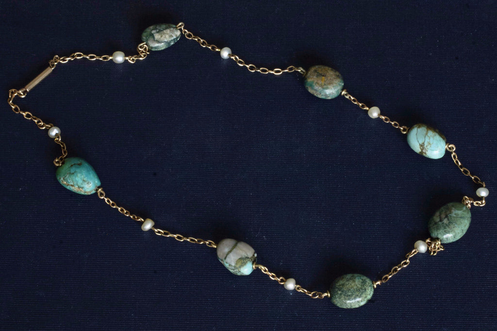 Edwardian Turquoise Pearl Nugget Necklace