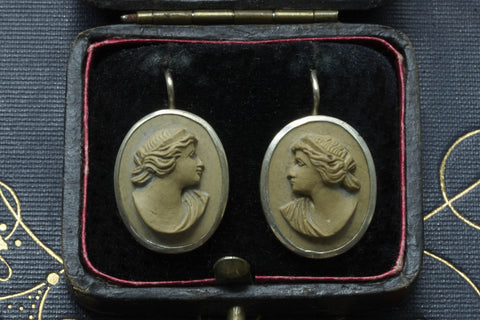 Victorian Lava Cameo Earrings