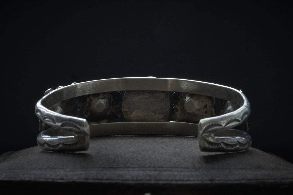 Navajo Turquoise Bangle With Floral Motif