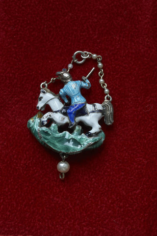 Austro-Hungarian Pendant with Pearls and Enamel