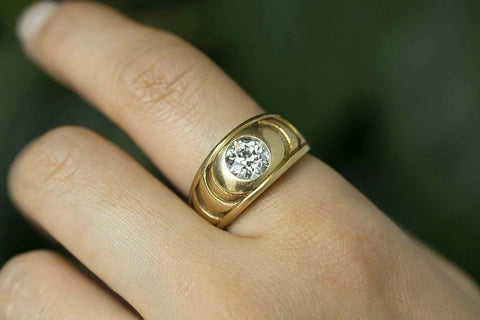 Diamond Solitaire Gold Band