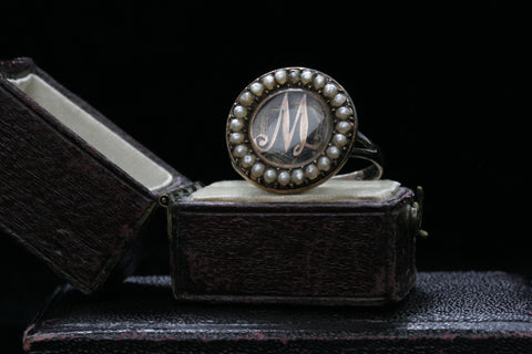 Georgian Seed Pearl 'M' Memorial Ring
