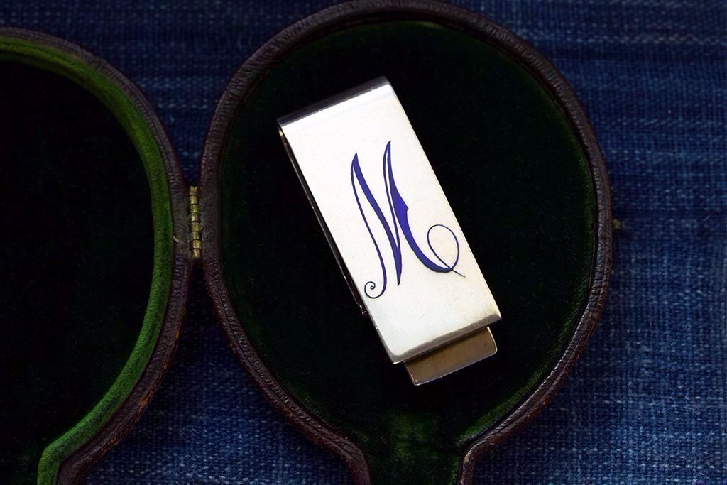 Antique Silver Enameled 'M' Money Clip