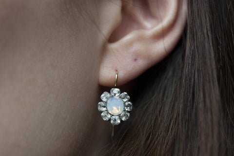 Georgian Paste and Opaline Earrings