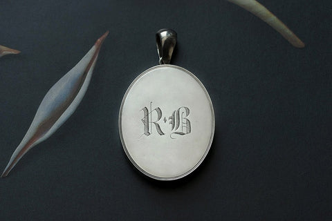 "Victorian Sterling Silver ""SJ & RB' Locket"