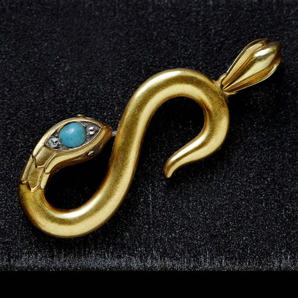Antique French Snake Turquoise Diamond Pendant.