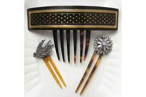 Large Victorian Piqué Star Hair Comb