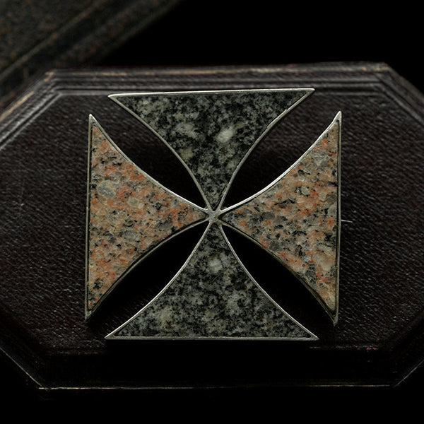 Victorian Sterling and Scottish Aberdeen Granite Pin